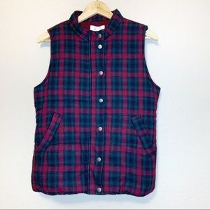 Skies Are Blue NEW Burgundy Wels Plaid Puffer Vest